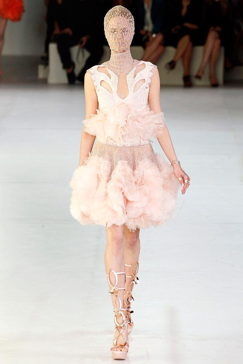light pink wedding reception dress by alexander mcqueen 2012