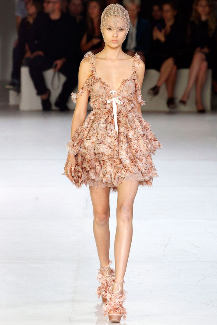 Baby doll nude mini dress for the wedding reception