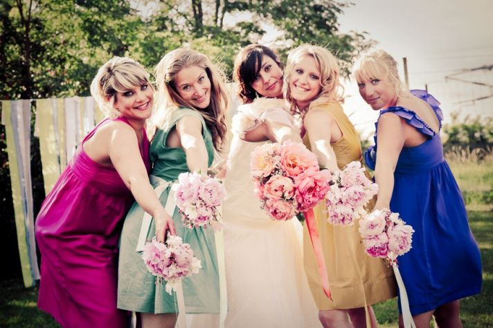 Colorful mix and match bridesmaids dresses
