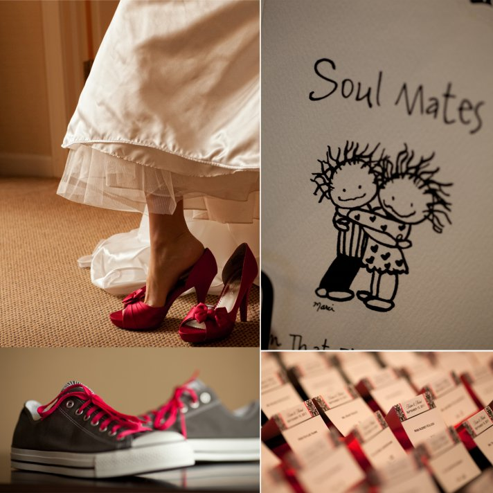 Red wedding shoes, groom wears casual Converse