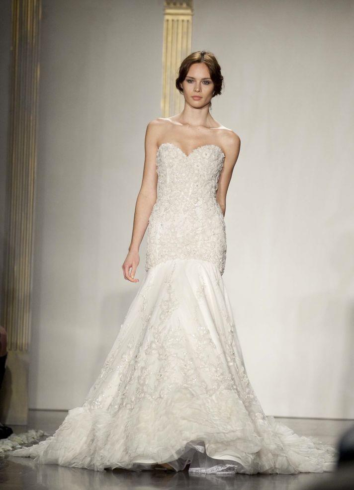 Drop-waist ivory mermaid wedding dress with beaded bodice