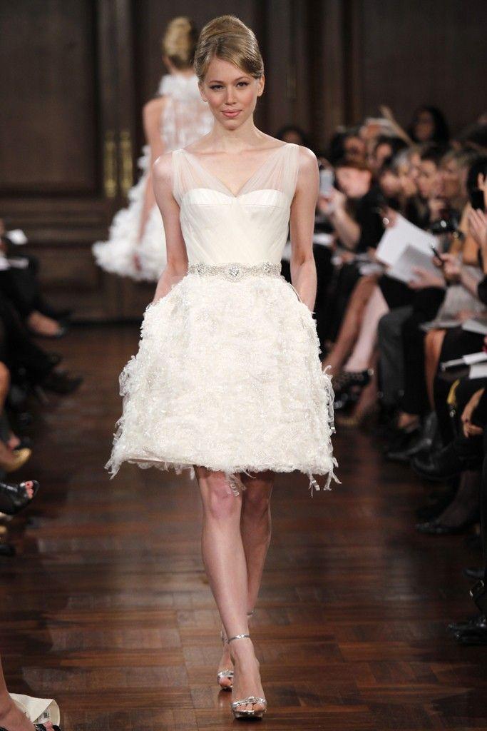 Romona Keveza little white wedding dress with sheer sleeves
