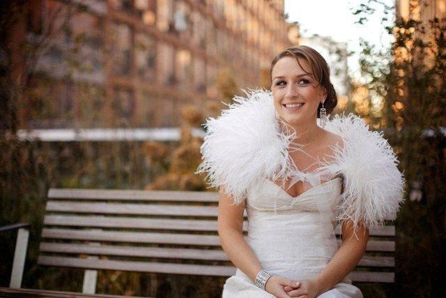 Ostrich feather bridal bolero