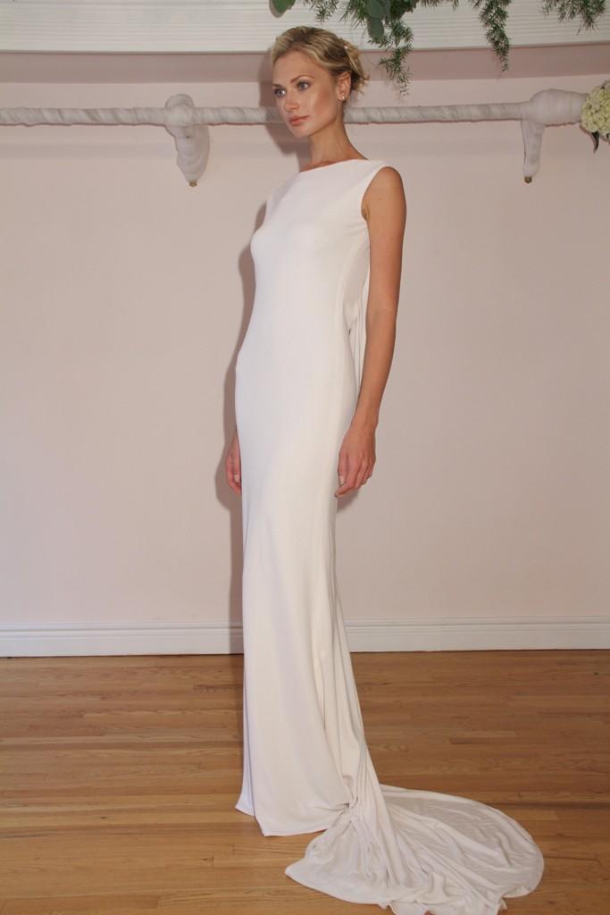 Randi rahm fall 2012 wedding dresses onewed for Long sleek wedding dresses