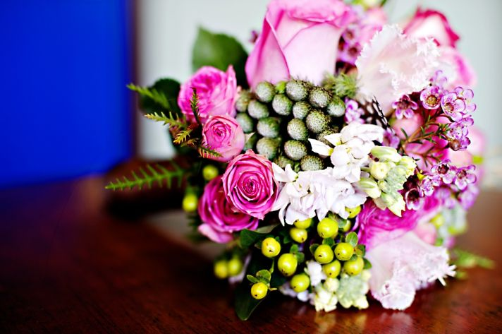 Winter wedding in Seattle bright hot pink bridal bouquet