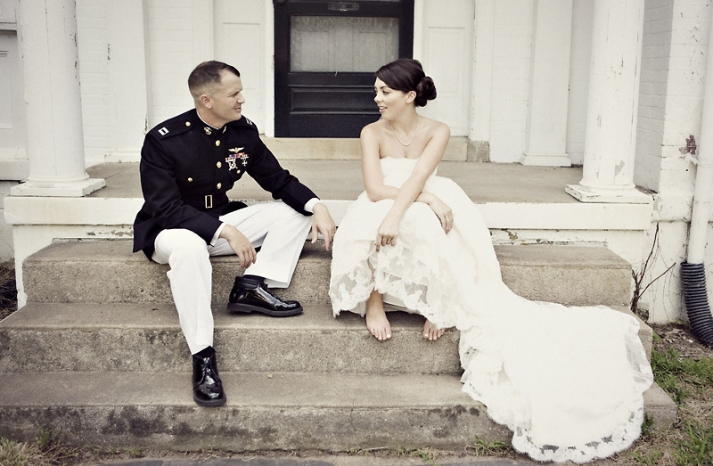 Bride-groom-lace-wedding-dress-military-groom