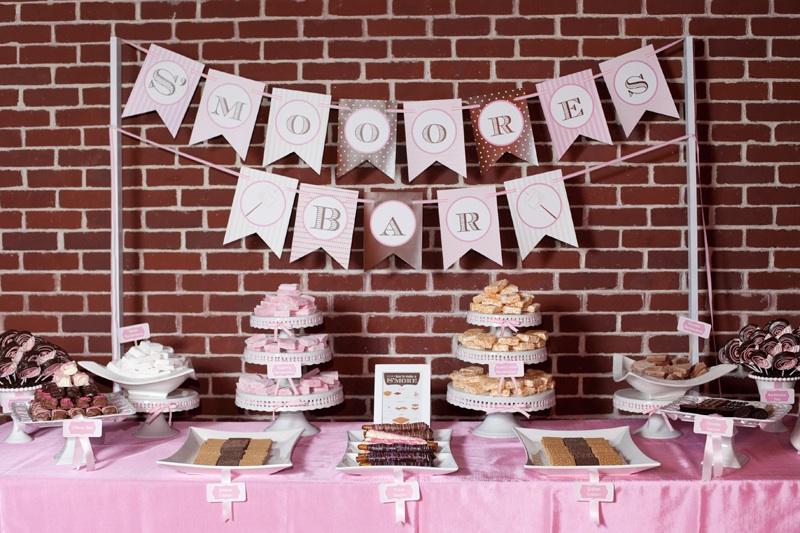 Wedding reception dessert table Smores Bar