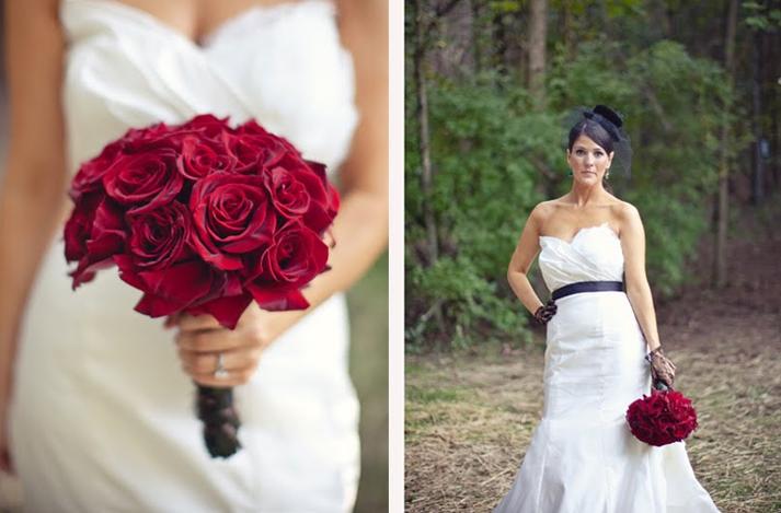 Dark Romantic wedding flowers bridal bouquet of crimson red roses