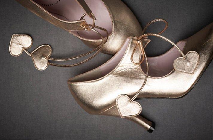 BHLDN wedding shoes- metallic mary janes