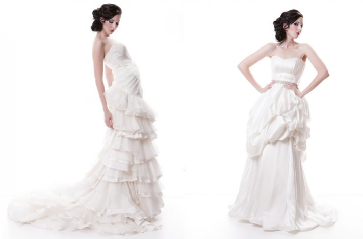 Sarah Houston wedding dresses, 2012 bridal- ivory gowns with ruffles and peplums