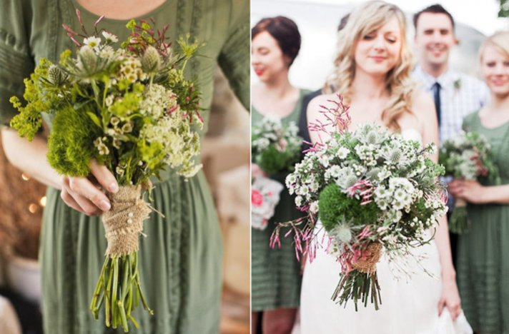 Favorite fall bridal bouquets suggested by Oh Lovely Day- green + burlap