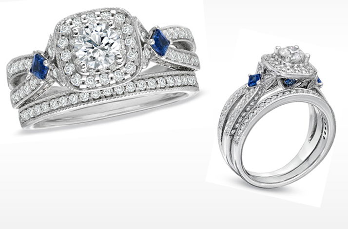 Vera Wang LOVE engagement ring Diamond and sapphire wedding ring set
