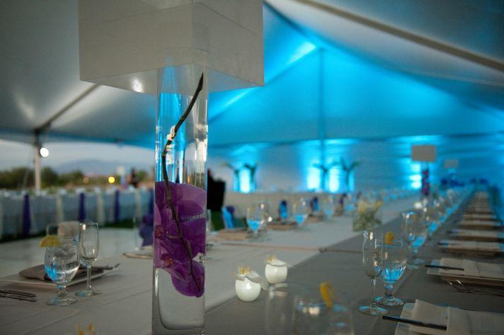 tented wedding venue, modern DIY centerpieces