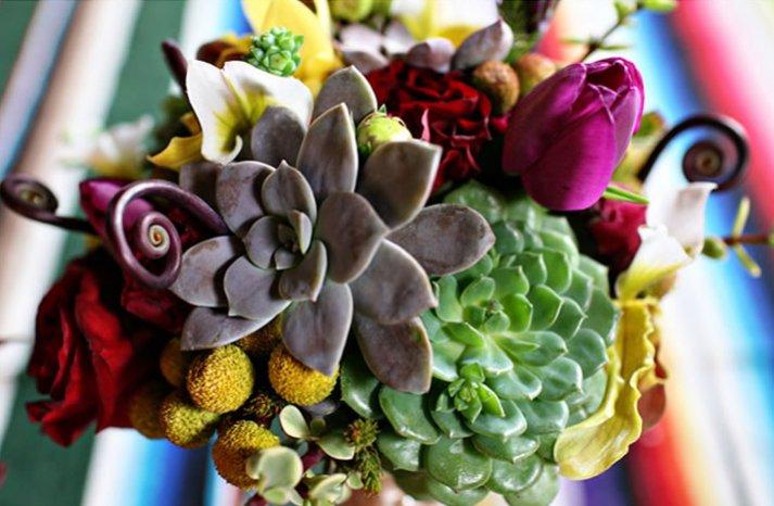 bold bridal bouquet eco friendly succulents