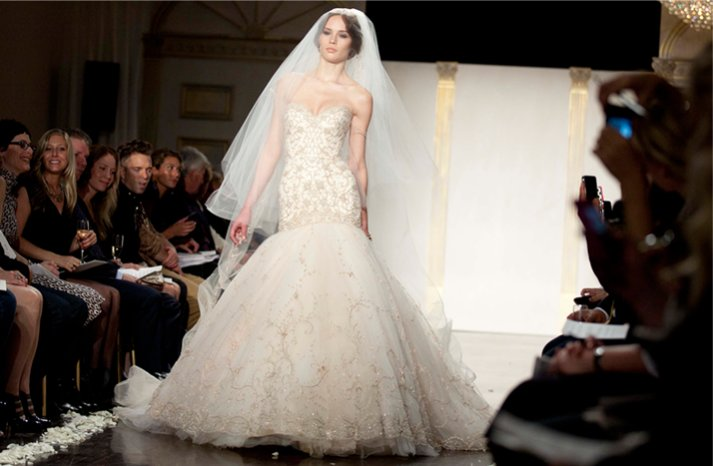 lazaro wedding dress blush 2012 mermaid
