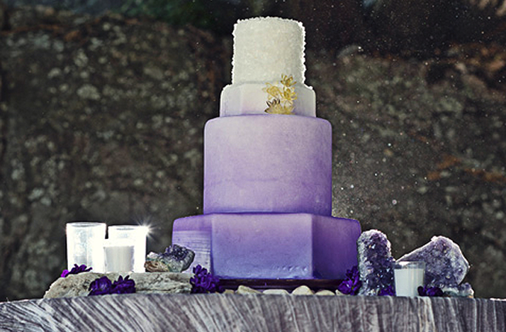 purple wedding cake ombre