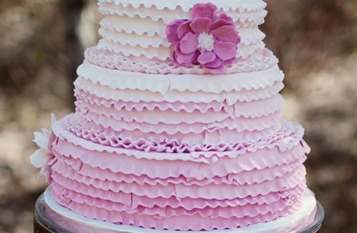 light purple ruffle wedding cake
