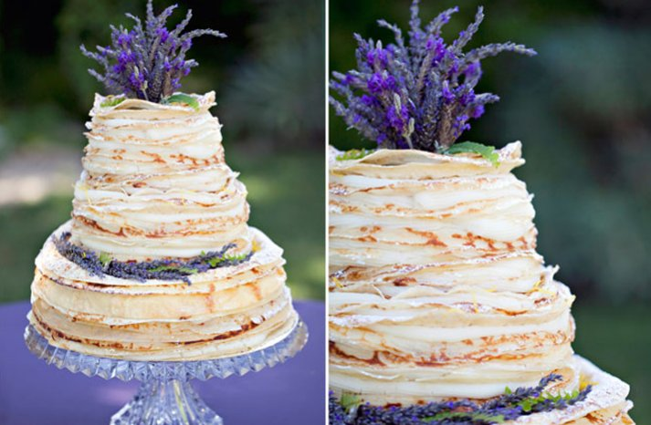 non traditional crepe wedding cake