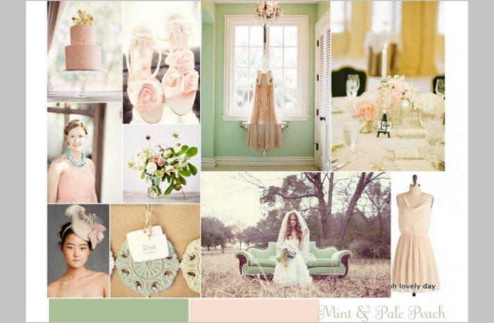 vintage wedding color palettes mint peach romantic