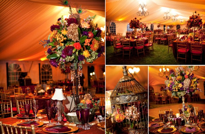 morocan themed wedding tent venue dark wedding flowers
