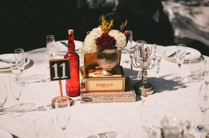 white red wedding flowers centerpieces crystals Stoffer Photography