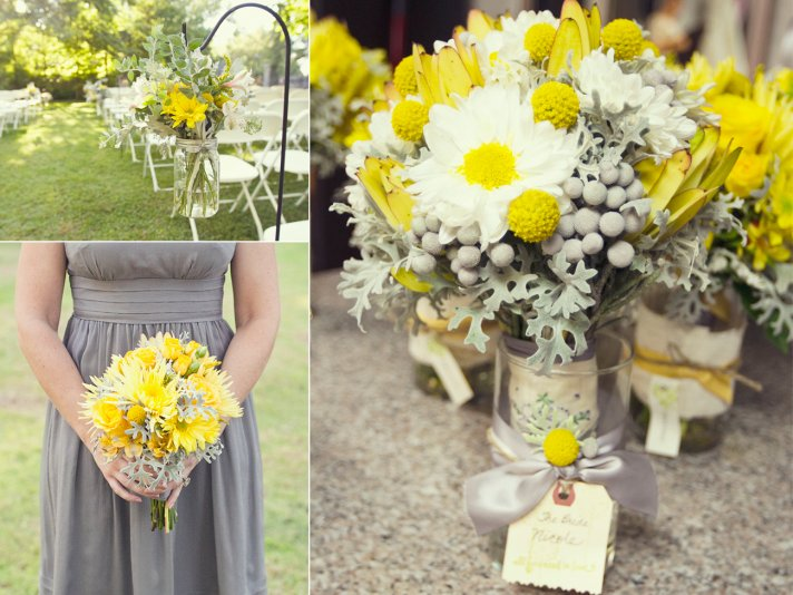 Yellow and grey fall wedding in california yellow white wedding flowers mightylinksfo
