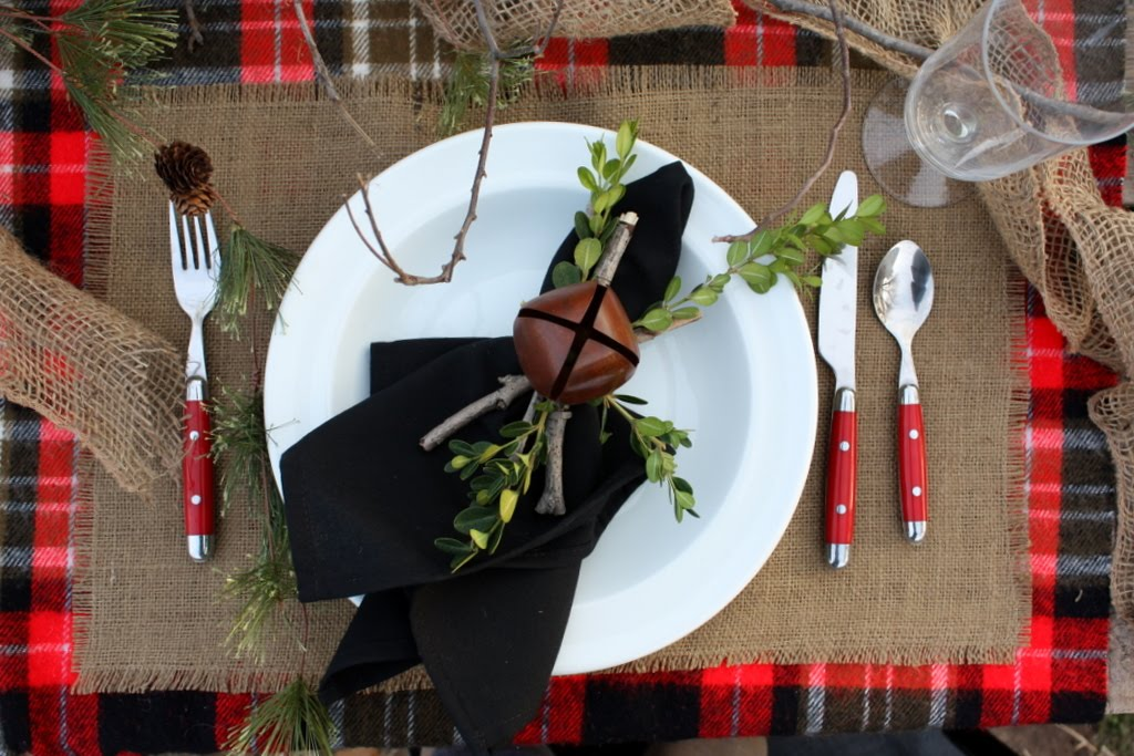 holiday inspired wedding reception table place setting Credit none