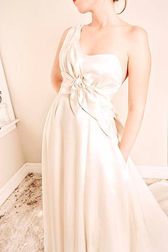 one shoulder wedding dress