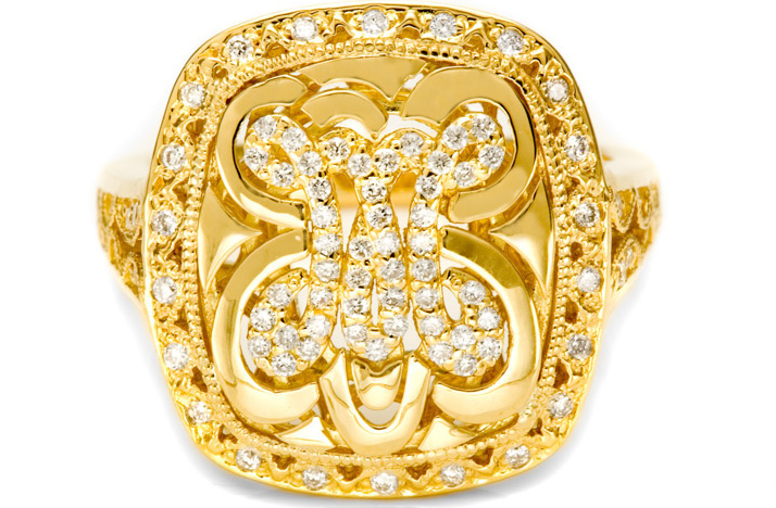 gold wedding ring monogram tacori Credit none