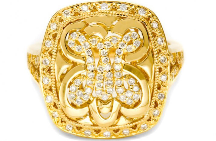 gold wedding ring monogram tacori