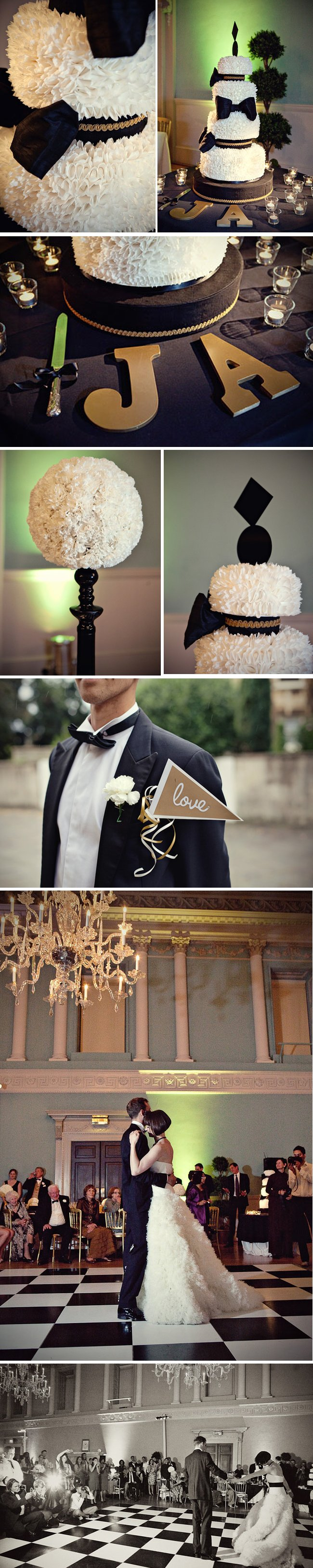 elegant black white wedding flowers reception decor vera wang bridal gown