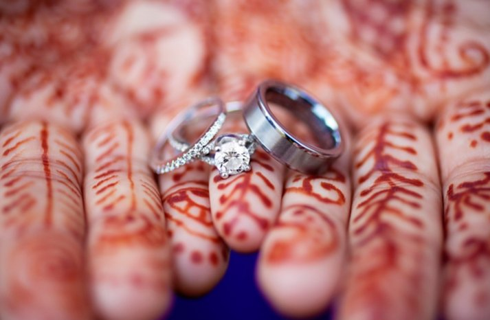 round diamond engagement ring indian bride henna