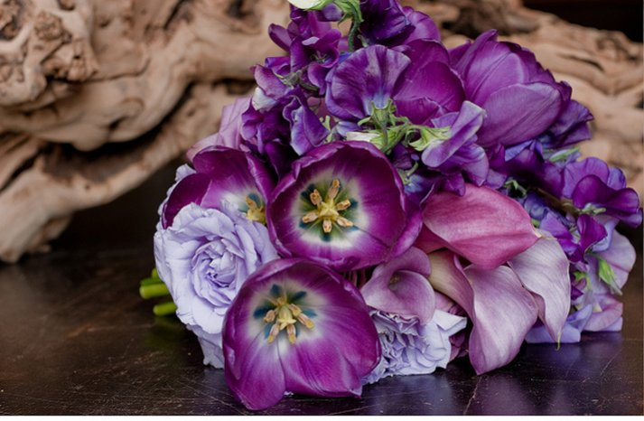 purple bridal bouquet exotic wedding style