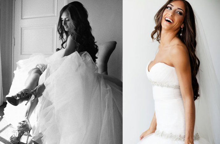all down long wedding hair loose waves ballgown wedding dress