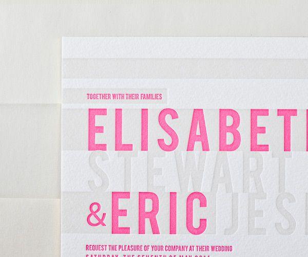 bright pink grey letterpress wedding invitations
