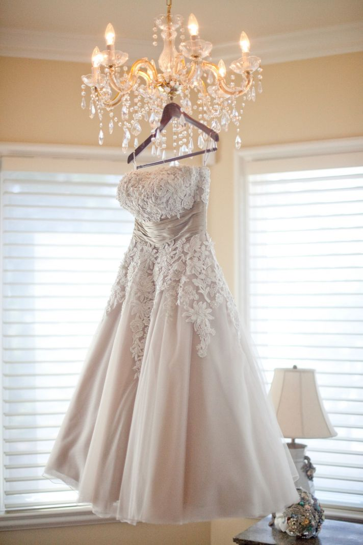 tea length wedding dress lace