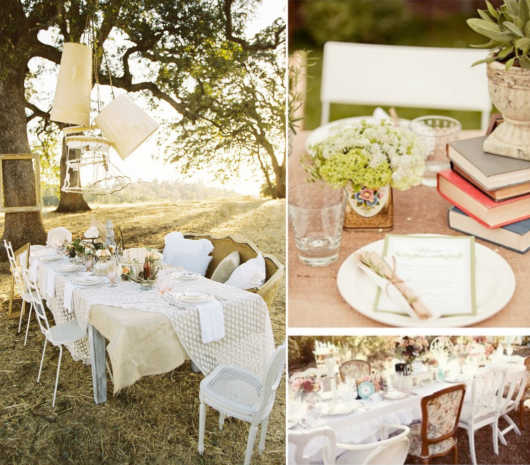 Wedding decoration wedding centerpieces outdoor theme for Vintage theme ideas