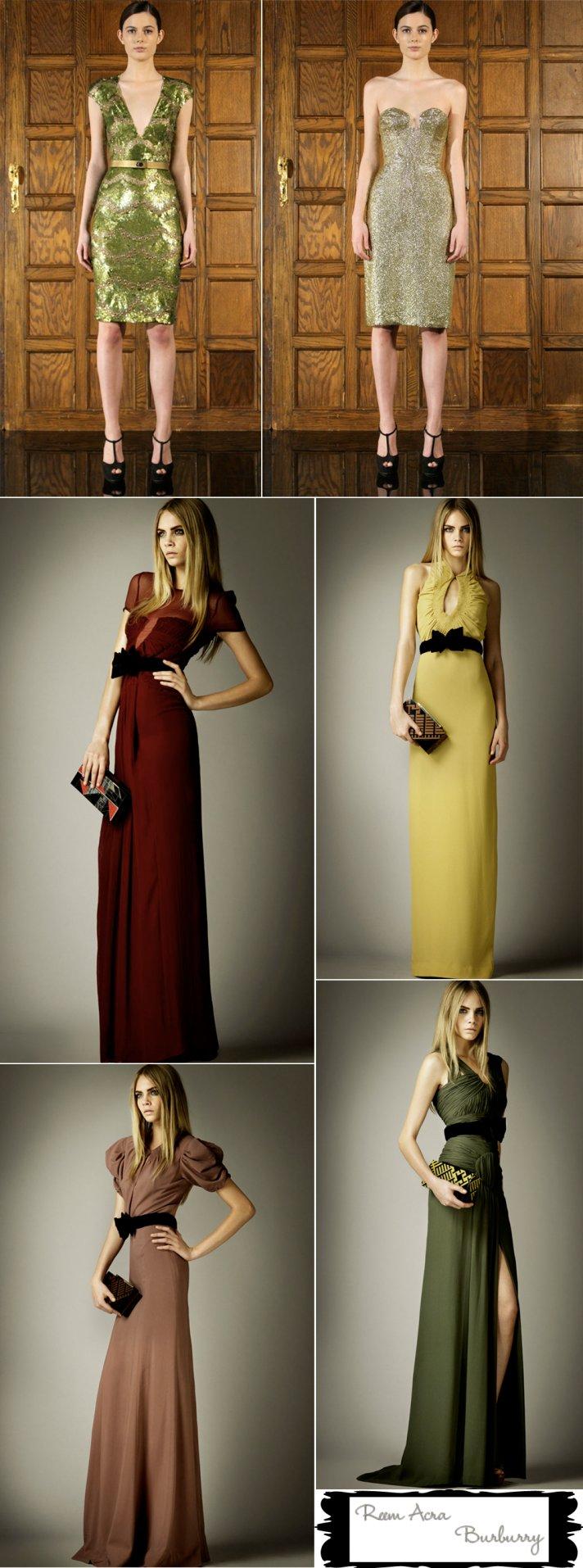 Gold, green bridesmaids dress inspiration for fall weddings