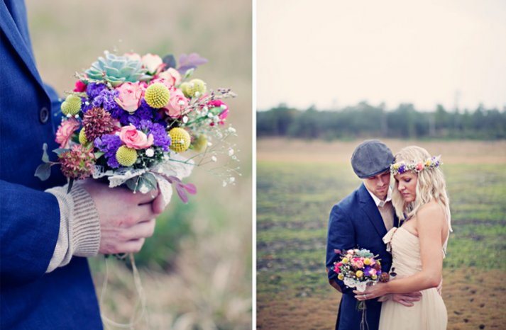 outdoor bohemian wedding colorful bridal bouquet