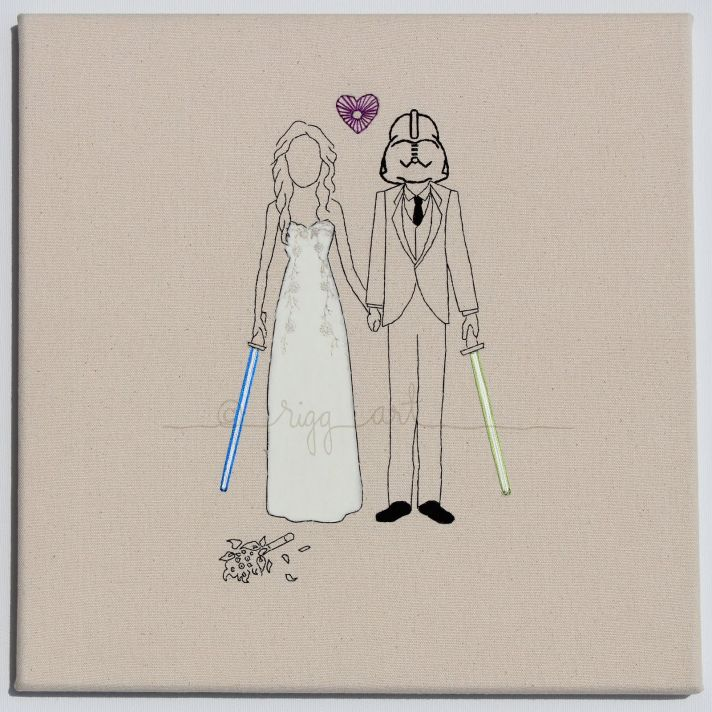 star wars bride groom wedding portrait