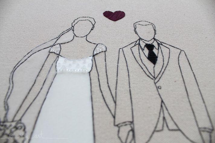 wedding art bride groom