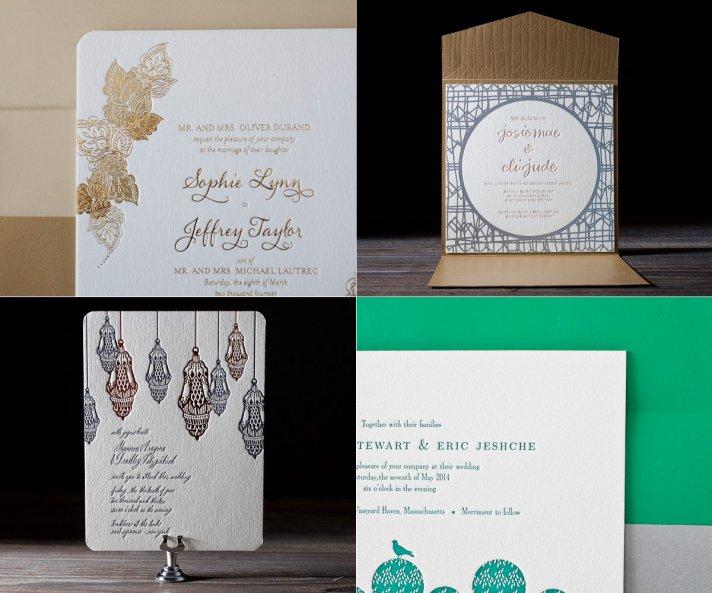 letterpress wedding invitations metallic accents modern wedding style