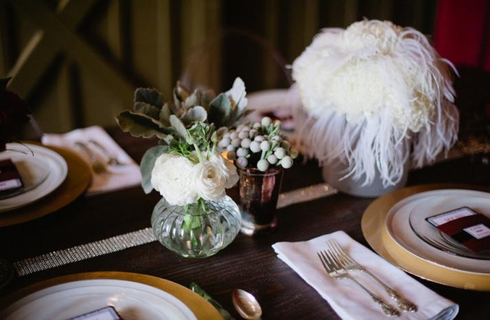 white feather wedding reception centerpiece