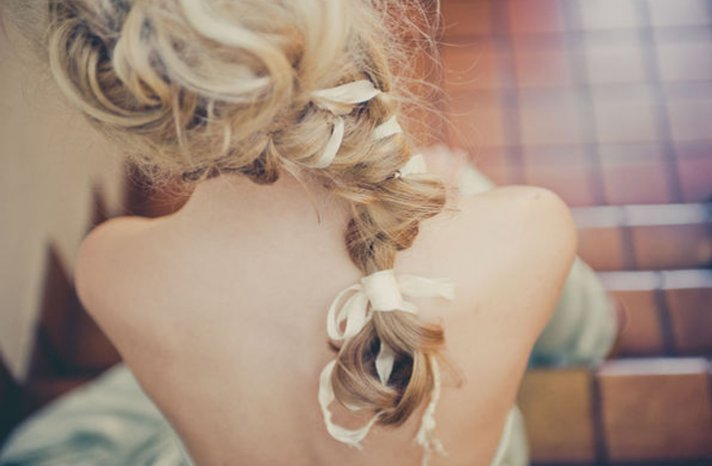 romantic braided wedding hairstyle long blonde hair