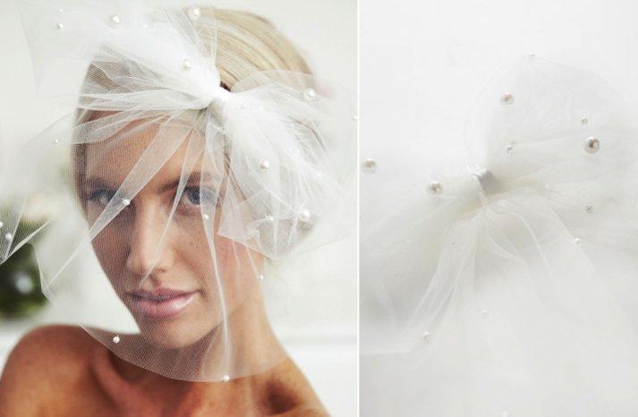 flirty bridal veil blusher pearl embellished