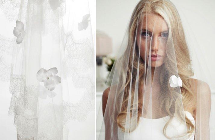 sheer tulle bridal veil flower embellished