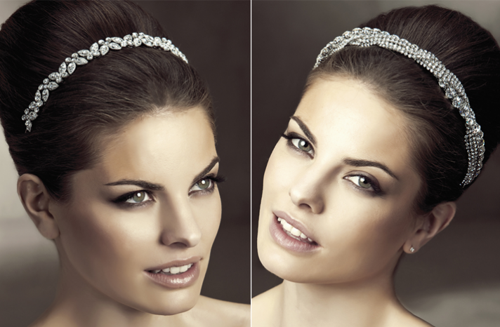 2012 wedding hair accessories bridal hairstyles pronovias crystal bridal headbands chic chignon