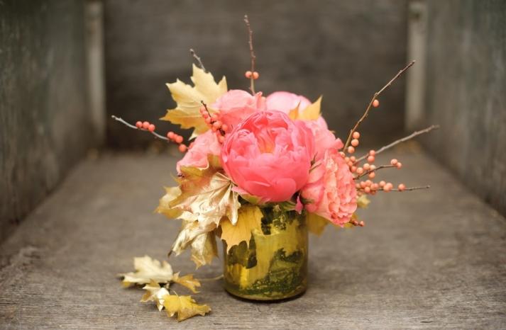 pink peony wedding flower centerpiece