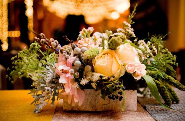romantic rustic wedding reception centerpiece