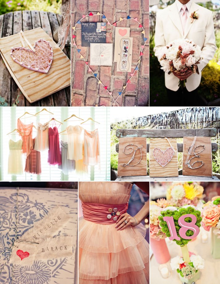 soft pink wedding color palette bridesmaids dresses mix and match heart wedding theme